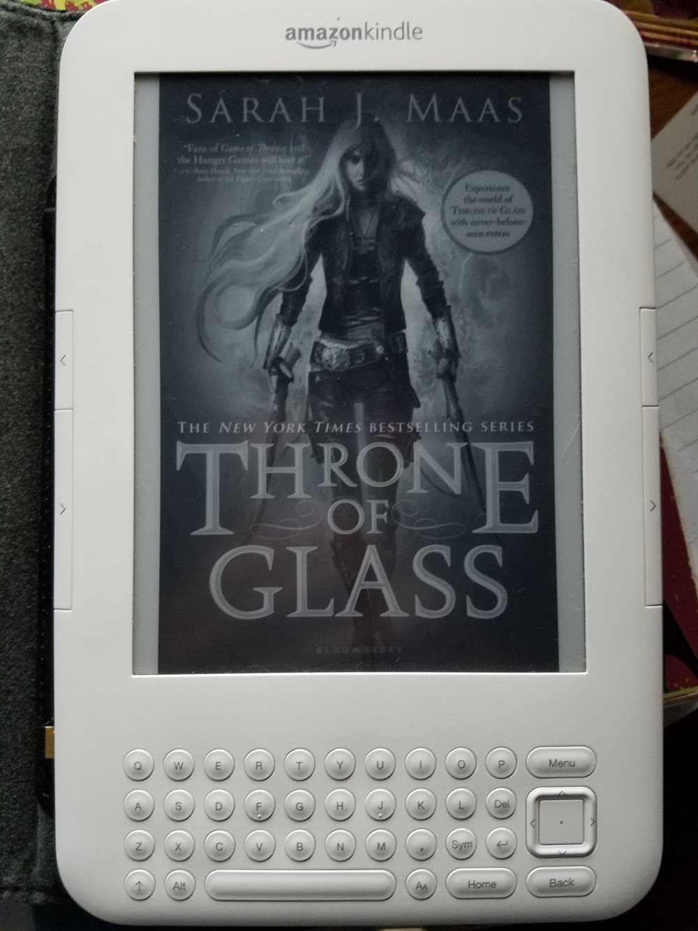 My sweet, sweet, old-school Kindle who has been with me longer than my husband has. ;)
