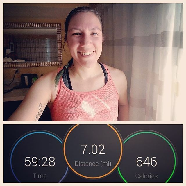 I forgot to take a selfie while I was outside, so you get one post-run in my hotel room. My best run in a long time! Maybe I can still get this marathon training back on track. 🏃❤ #running #runatl #runatlanta #decatur #oisellevolée #headupwingsout #instarunners