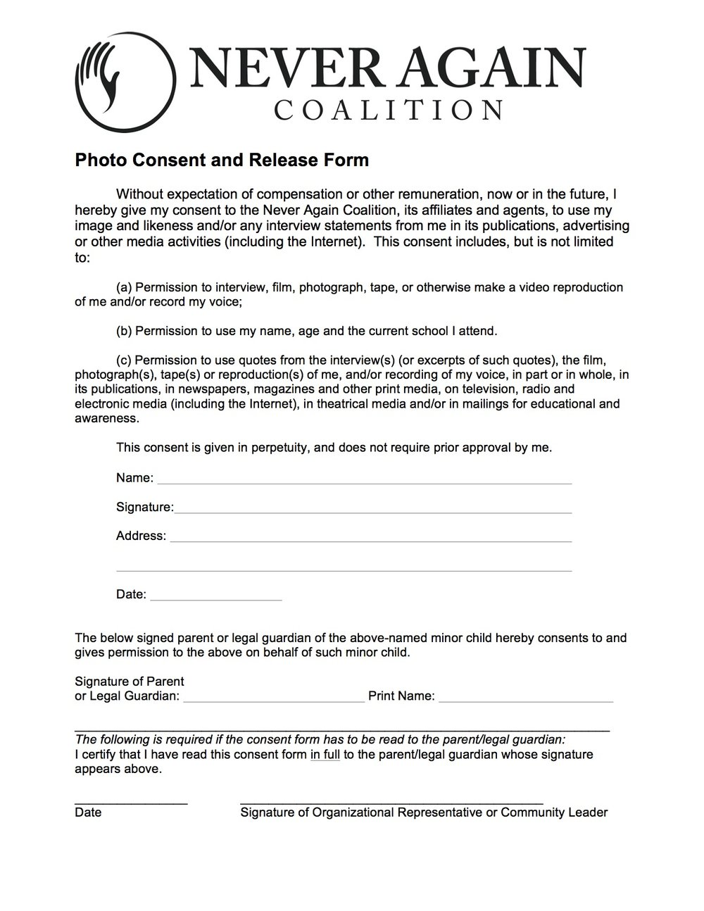 Please mail the form back to us at : Never Again Coalition, P.O. Box 25793, Portland, OR 97298