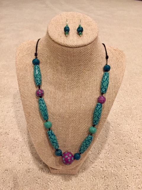 Kazuri Bead Necklace and Earrings - This necklace and matching earrings were crafted in Portland using Kenyan Kazuri beads.