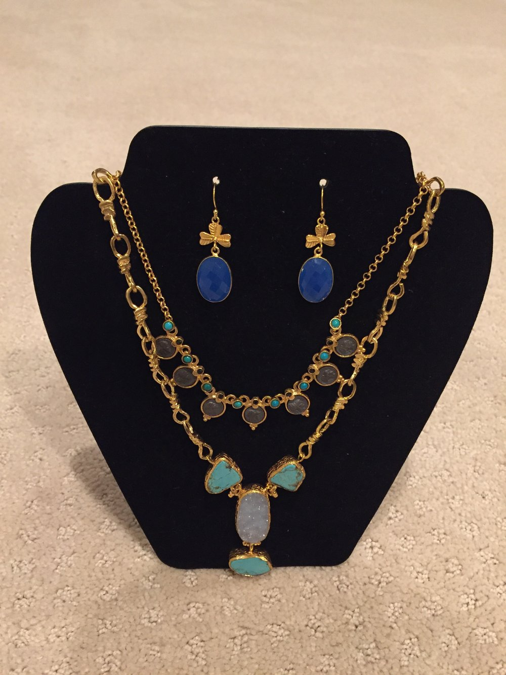 Blues and Gold Jewelry Collection - This collection includes two necklaces and a pair of earrings.