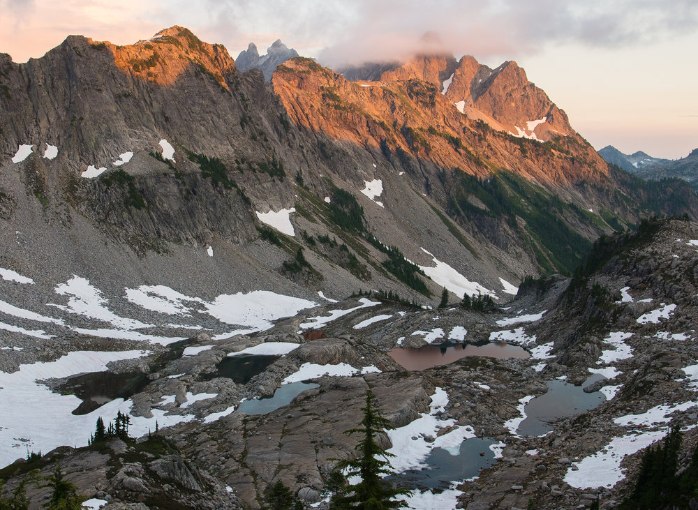 A brilliant sunset in the Alpine Lakes Wilderness.