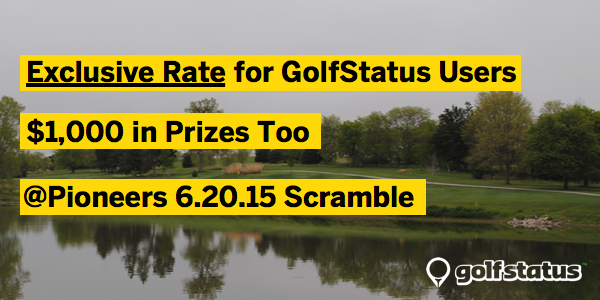 GolfStatus Exclusive Rate Announcement We've got another exclusive rate you don't want to miss out on.  This Saturday, June 20, 2015, is the 15th Annual Bud Light Open at Pioneers Golf Course.  It is a four person scramble, with over $1,000 in Bud Light and Prizes.  It is a 1:00 p.m. shotgun start. The event is $75 per person, but we've negotiated a discount for GolfStatus users.   Register by calling (402) 441-8969, or online at Pioneersgolf.com.  Be sure to mention you are GolfStatus users and save $20 on your foursome's costs. Keep an eye out for more exclusive golf deals from GolfStatus.