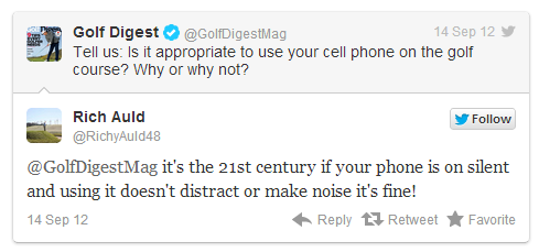 "Mention ""golf"" and ""cell phones"" in the same sentence and you can get some interesting reactions.  As  GolfDigest  put it, responses vary from ""No way, BE RESPECTFUL!"" to, ""Of course, people, welcome to the 21st Century.""    Of course, GolfDigest's  Twitter inquiry  implied talking on a cell phone while on the course, but there are many other ways to use cell phones on the course.  Take, for example, using the  GolfStatus app  to keep score, post to GHIN, and earn rewards for playing the game you love.     Here at GolfStatus, we firmly believe that technology, used with good etiquette, can enhance the game of golf."