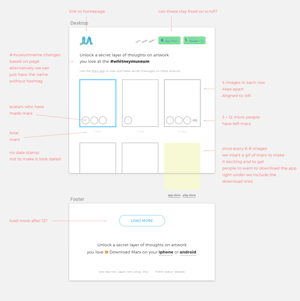 Web app wireframe for partnerships with Museums