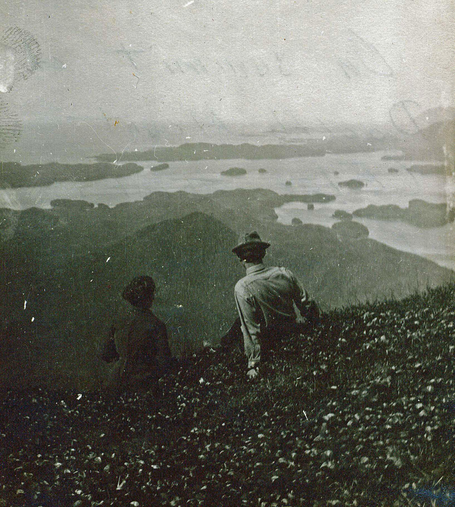 Conor's great-grandparents, Henry & Louise Baumann, look Northwest from the top of Doolth Mountain, inside which the Hearst-Chicagof Mine was built.
