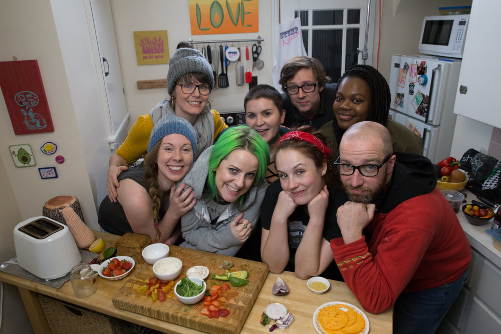 Part of the amazing Stump Kitchen: Cooking For the Heart crew! Clockwise from left: Host Alexis Hillyard, Featured Guest Lynsae Moon, Producer/Director/DOP/Editor Andrea Beça, Lighting Director Jesse Nash, Production Assistant Mimi Kachope, Sound Operator Tyson Lenz, Second Camera Julia Grochowski, and Makeup Artist Corinne Simpson. Photo by  Nanc Price .
