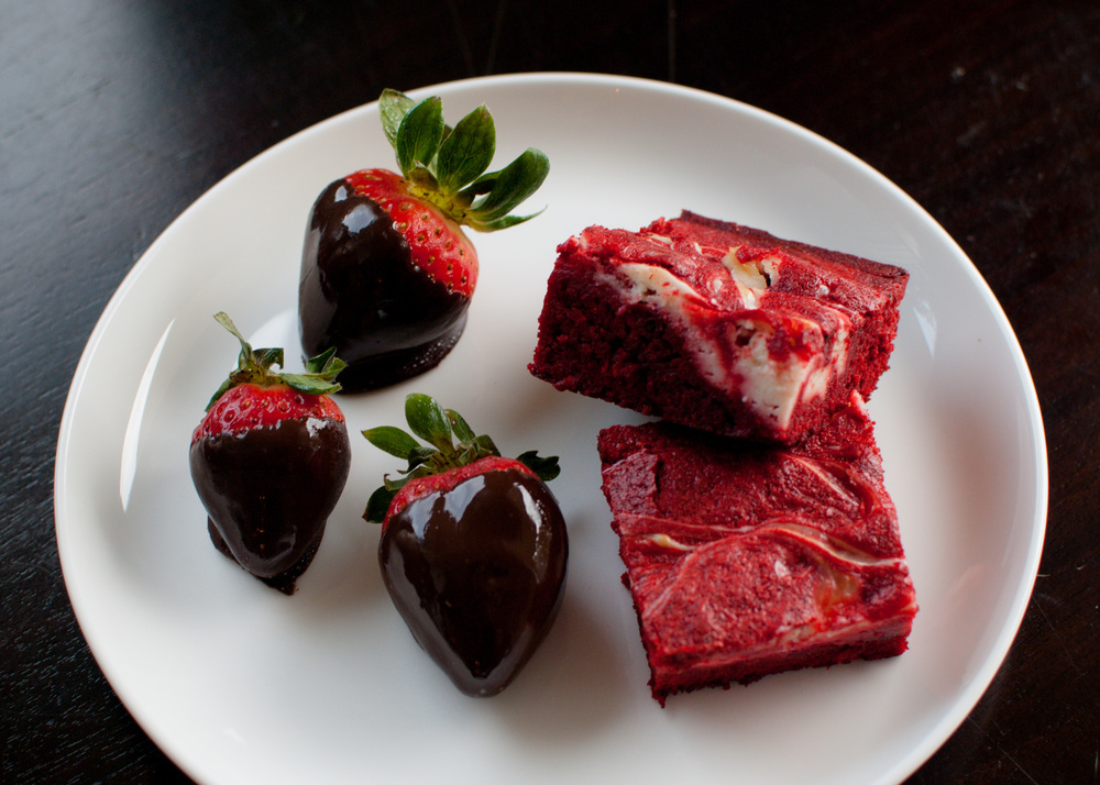 Chocolate Strawberries Red Velvet Brownies