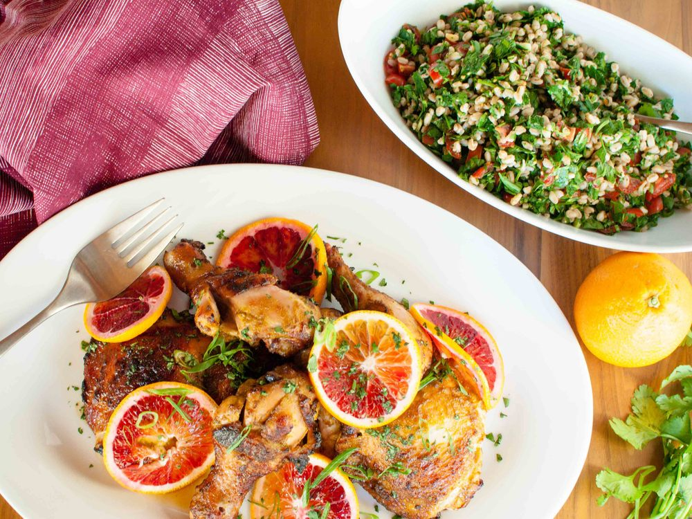 Roasted Chicken Legs and Farro Salad