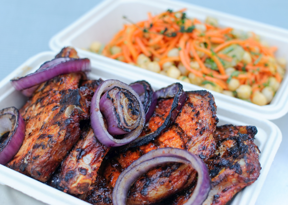 harissa grilled pork chops and chickpea carrot salad