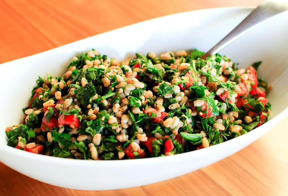 chopped herb and farro salad
