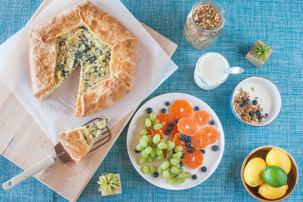 Swiss Chard and Leek Crostata with Homemade Yogurt and Olive Oil Granola
