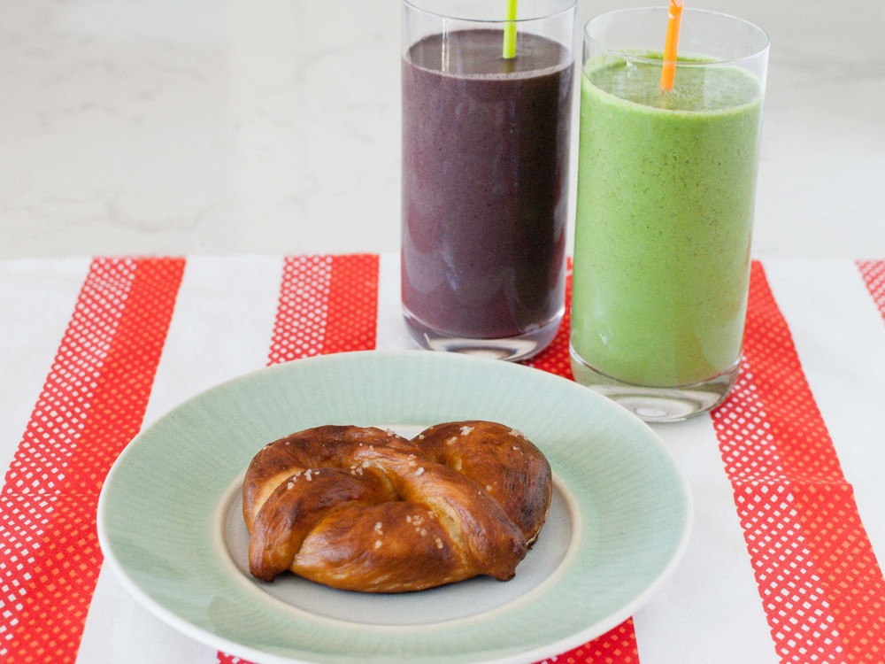 homemade pretzels and smoothies