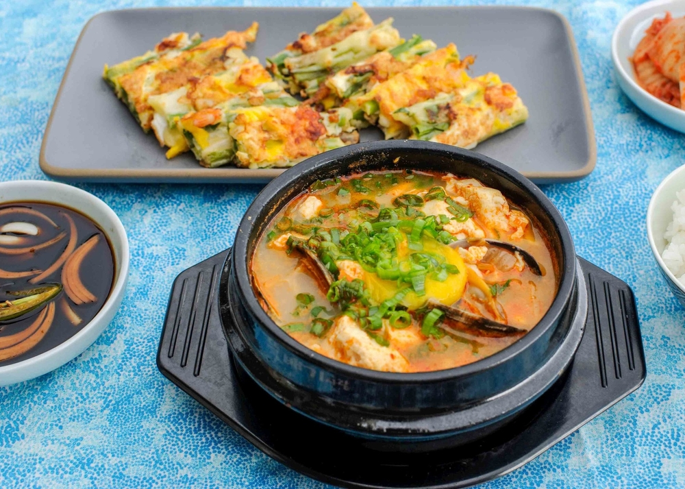 Korean Green Onion and Seafood Pancakes (Pan Jun) and Korean Soft Tofu Stew (Soondoobu Jjigae)