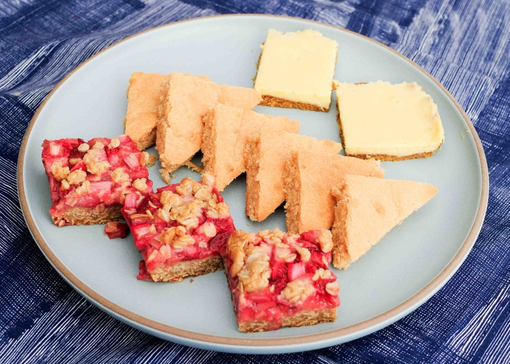 strawberry rhubarb crisp bars, coconut bars, lime bars with pistachio crust