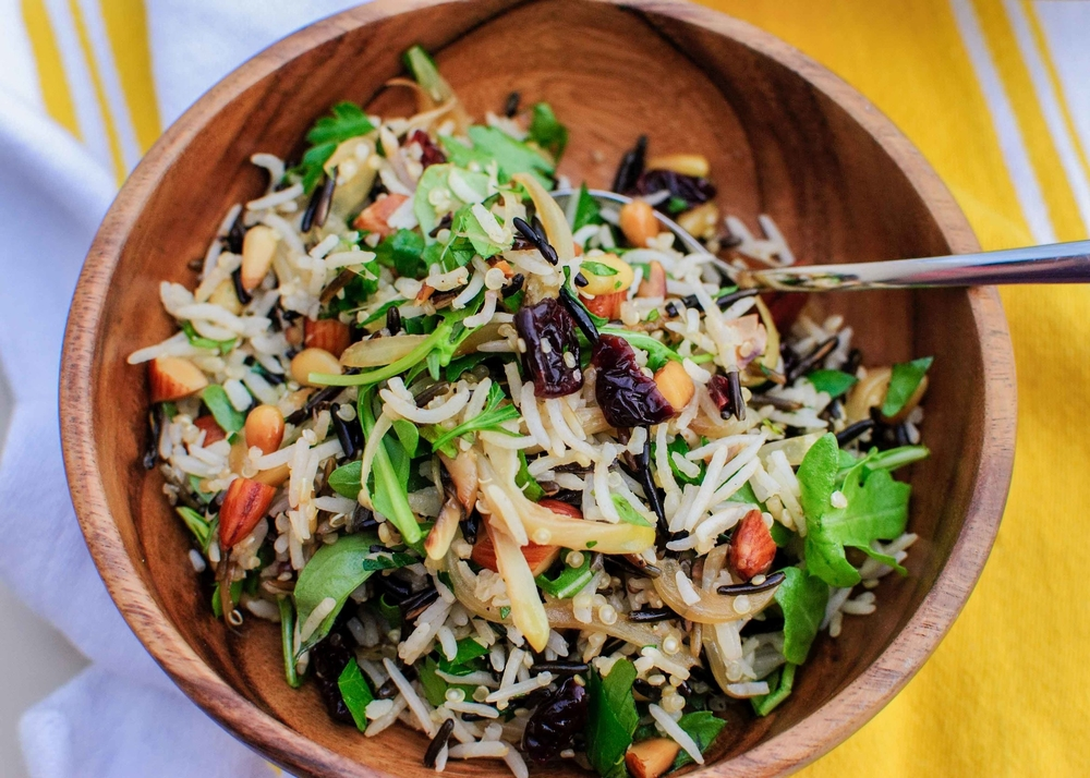 rice salad with nuts and sour cherries