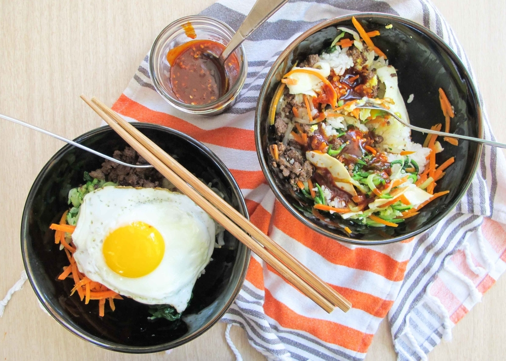 Bi Bim Bap with Beef and Spicy Sauce (Korean Mixed Rice)