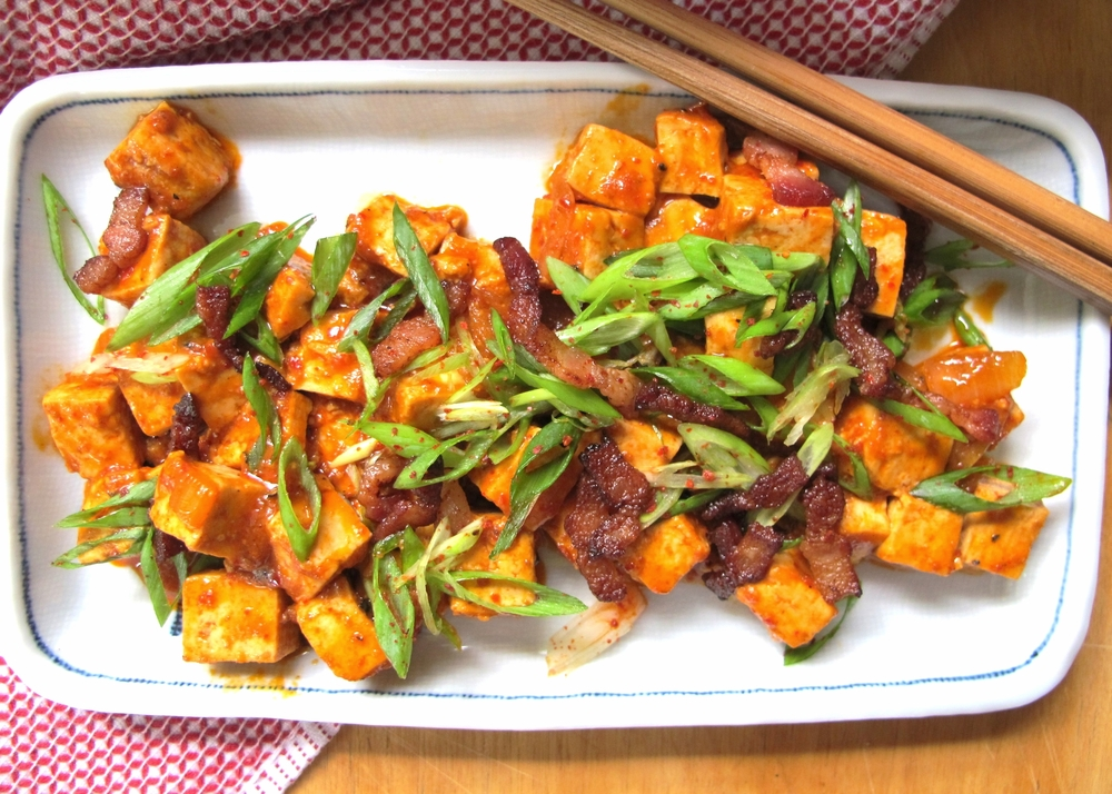 Korean Stewed Tofu with Green Onion Salad and Crisp Bacon