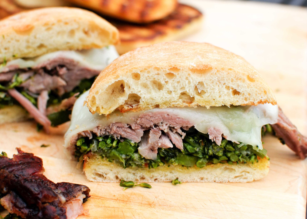 pulled pork broccolini and provolone sandwich