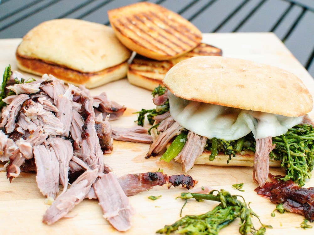 Slow-roasted Pork Shoulder; Pork and Broccolini Sandwich