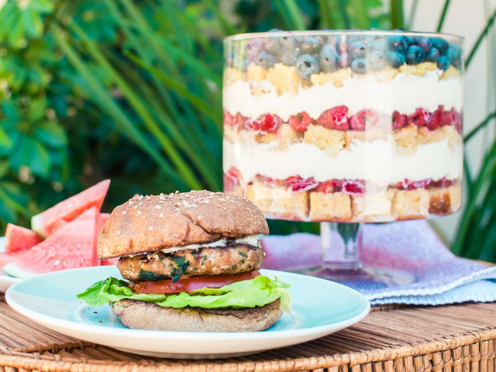 Mediterranean Turkey Burger and Summer Berry Trifle