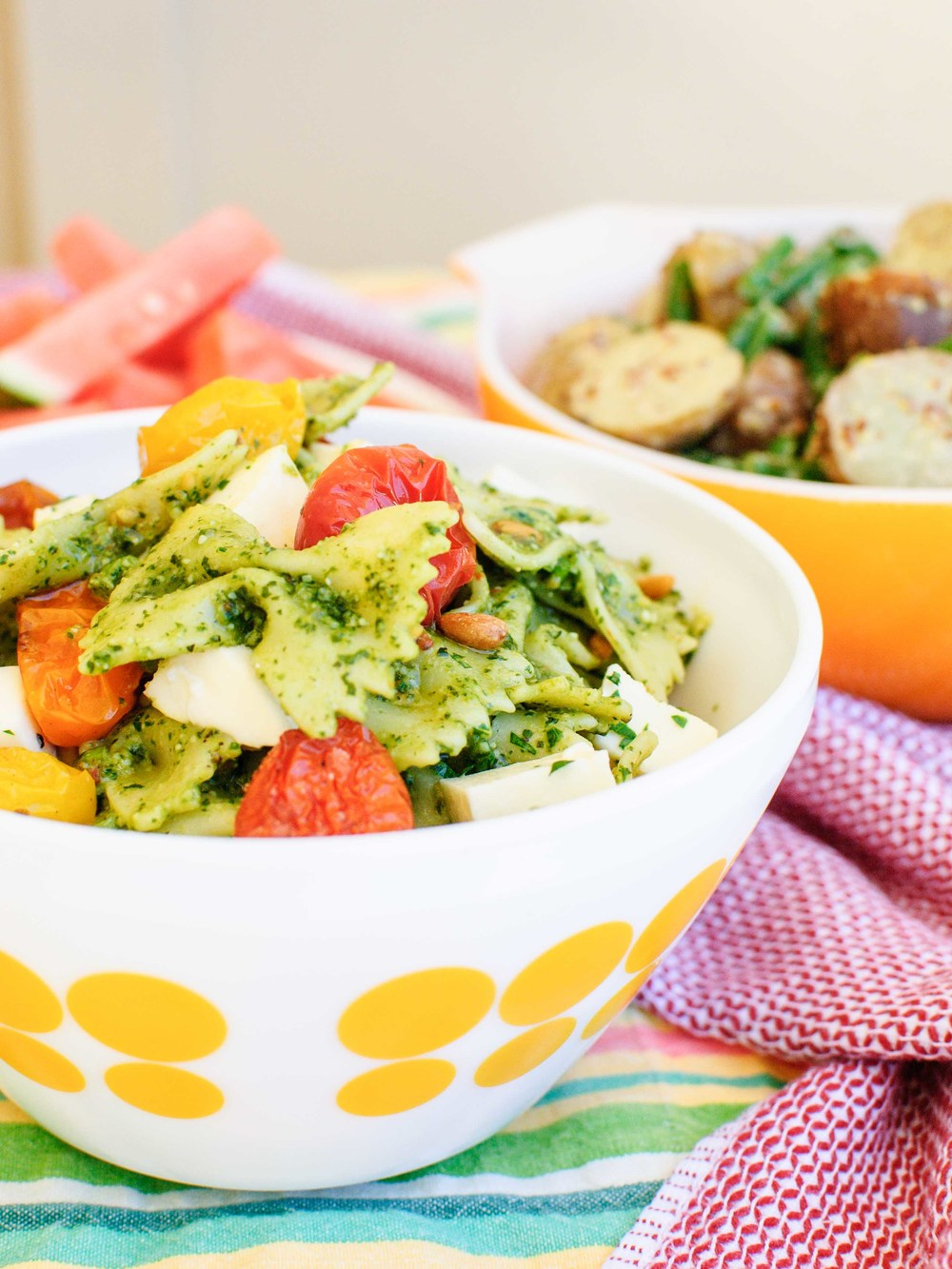 Pesto Pasta Salad with Roasted Tomatoes