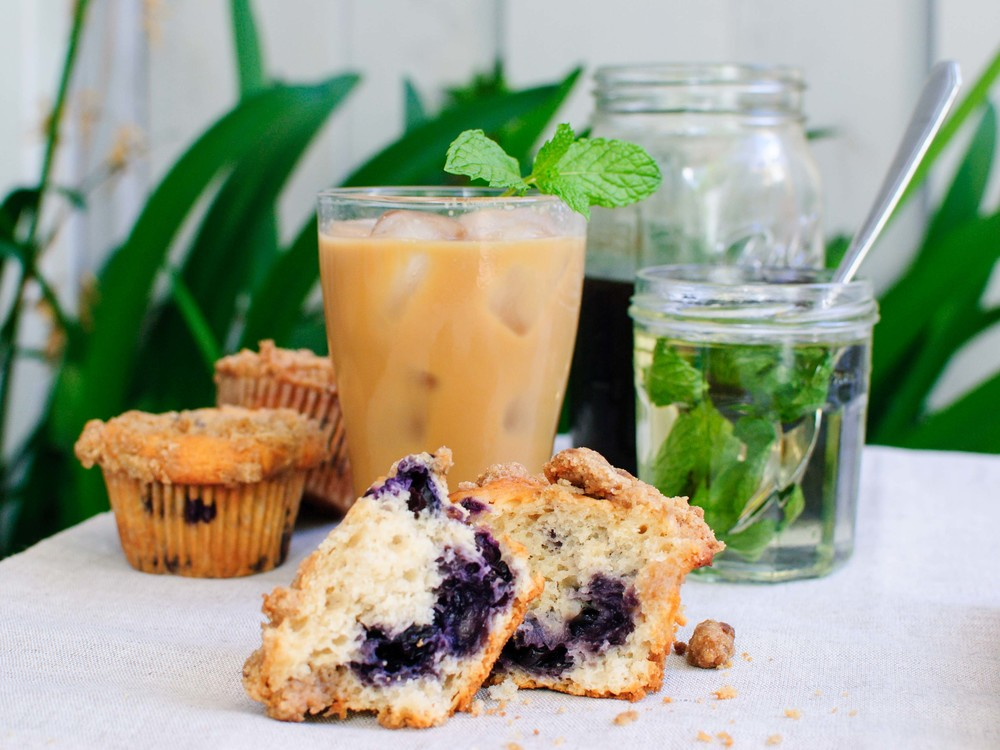 Blueberry Streusel Muffins and Cold Brew Coffee with Mint Syrup