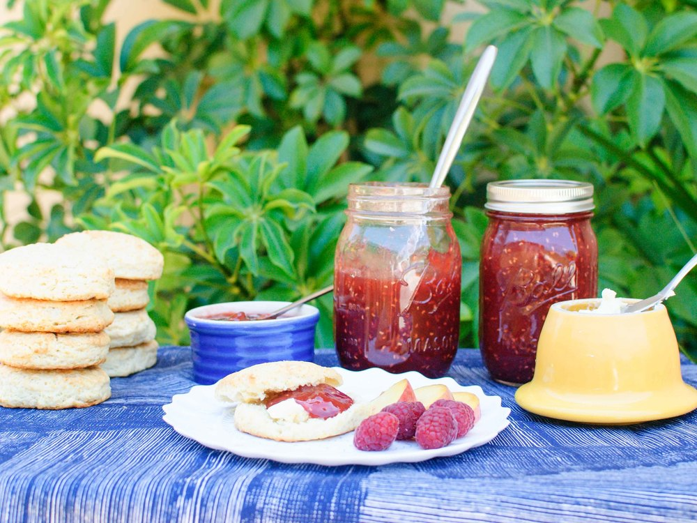 Raspberry Peach Jam and Buttermilk Biscuits
