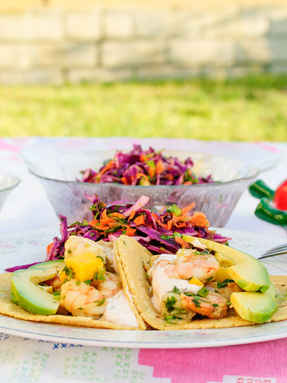 Mango Shrimp Tacos with Honey-Lime Slaw