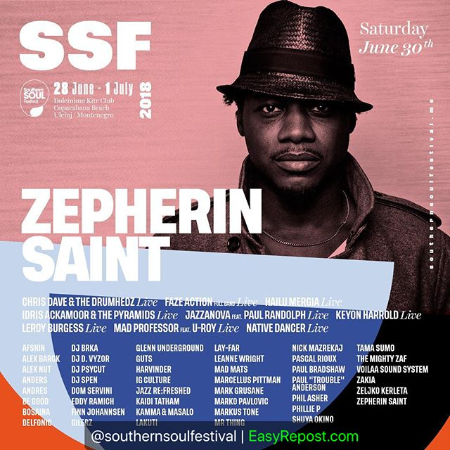 """Looking forward to playing at @southernsoulfestival 30th June.  By @southernsoulfestival: """"Zepherin Saint, Chief of Tribe Records, will bring his vibes to #SSF6 on Saturday, 30 June! Catch him play at our Cosmic Stage 🎶🎉 #SouthernSoulFestival #SSFmne2018"""" (via #InstaRepost @EasyRepost)"""