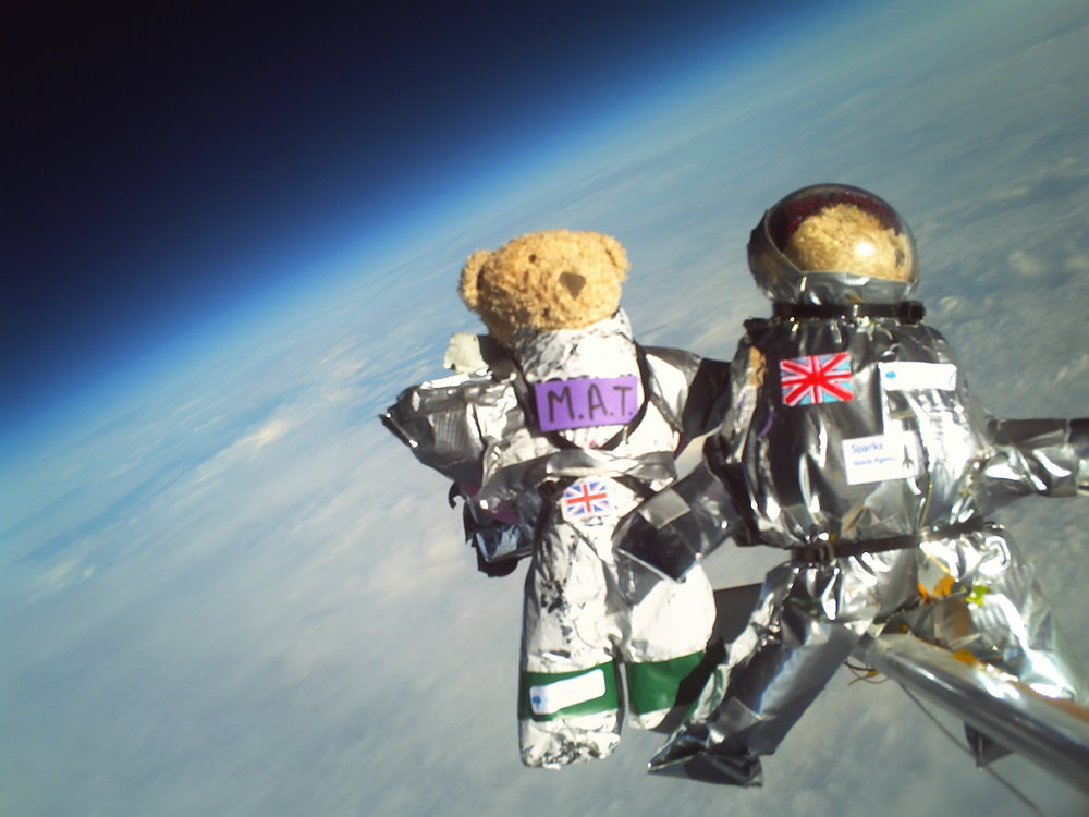 CUSF launch teddy bear astronauts into near space with a high altitude helium balloon, 2008