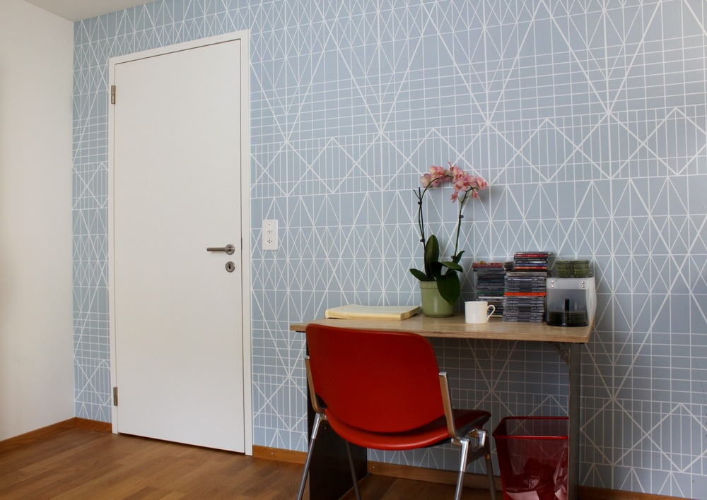 Photo Wallpaper, Berlin     BERLIN U7    The design of this wallpaper is inspired by the graphic tile walls of the subway stations along the railroad line U7 in Berlin. A linear texture from outlined rhombuses, rues and rectangles ressembles a filigree lace dress.    Click here!