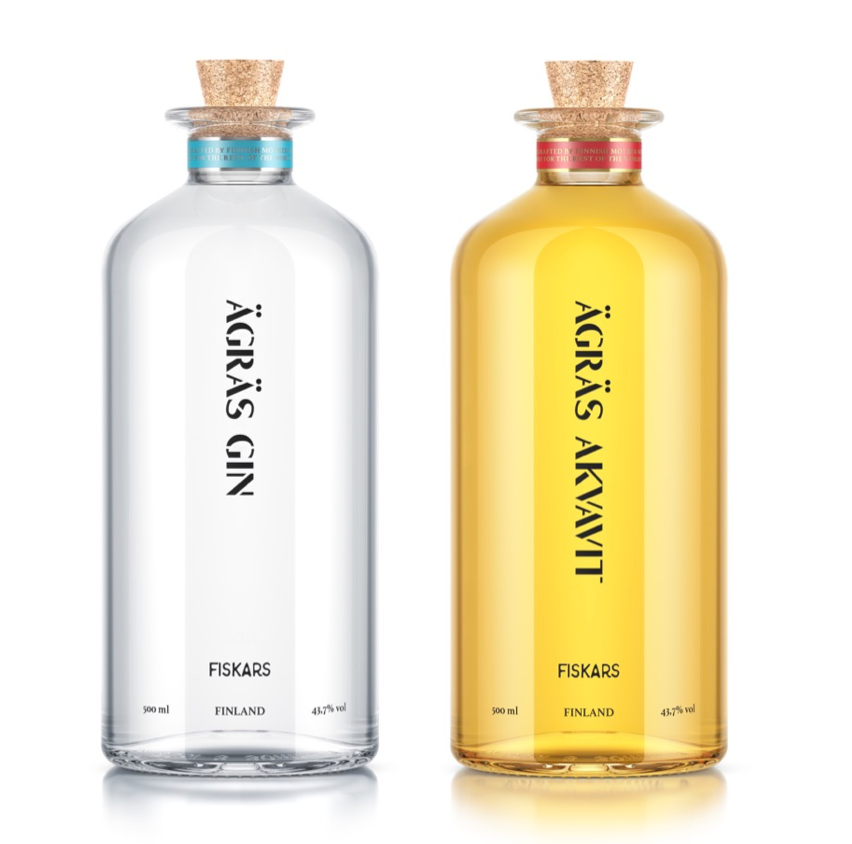 Old designs of Ägräs Gin and Ägräs Akvavit. Hereby considered as collectibles.