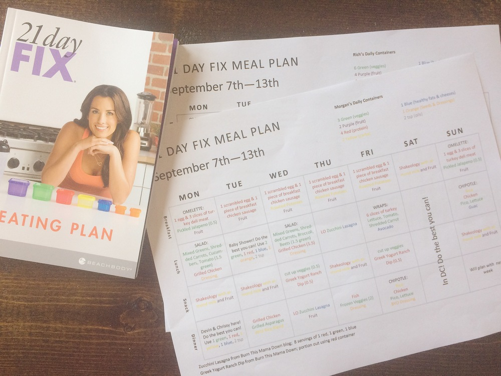 This is a picture I took (for an  accountability group  I was in) of my very first 21 Day Fix meal plan. I color-coded it to coordinate with the  portion control containers . Since creating this meal plan a few months ago, I have learned to keep things a bit simpler - utilize leftovers and don't plan too many complicated recipes.