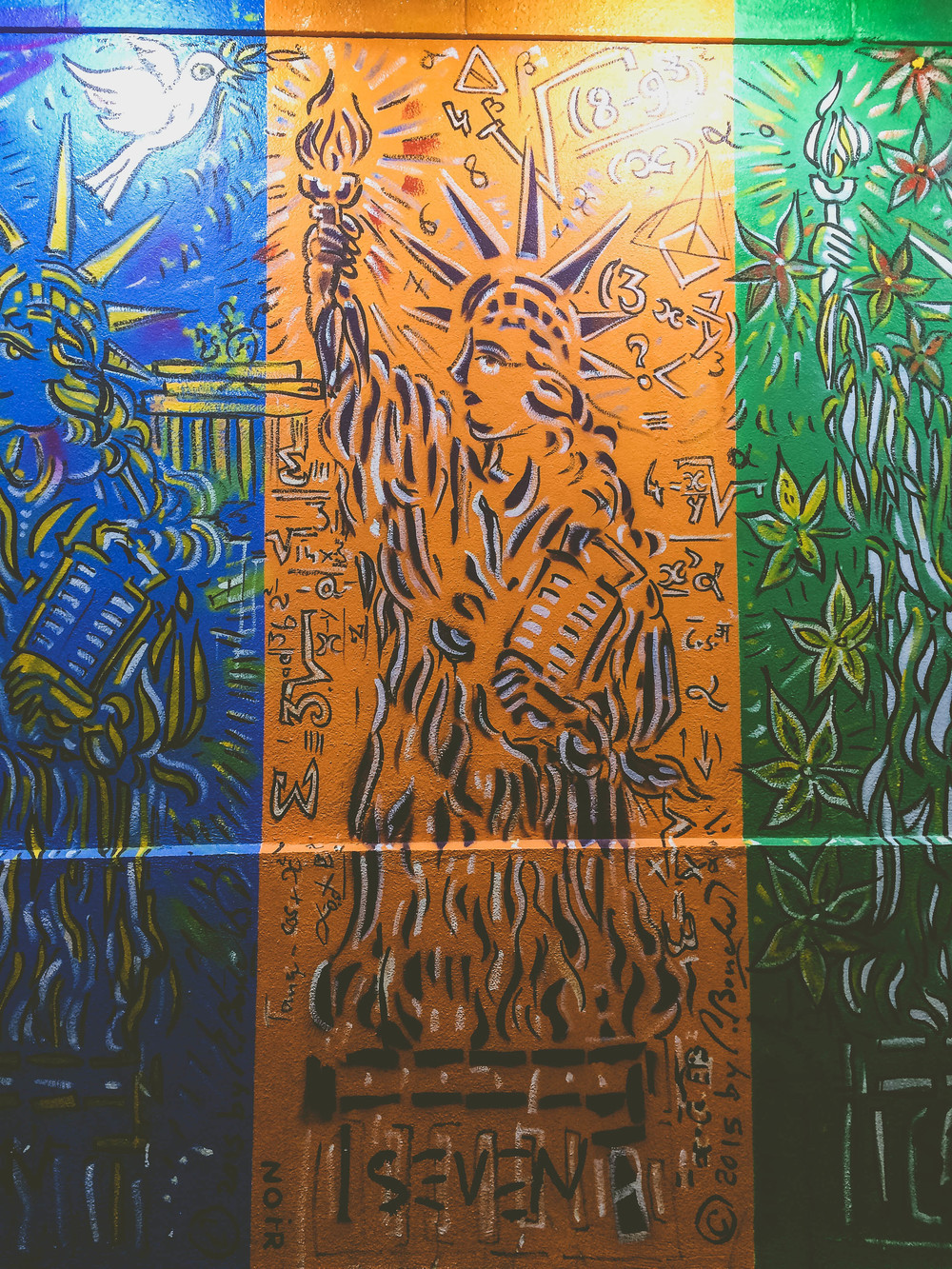Nuit Blanche 2015: A closer look at one panel of the Statue of Liberty.