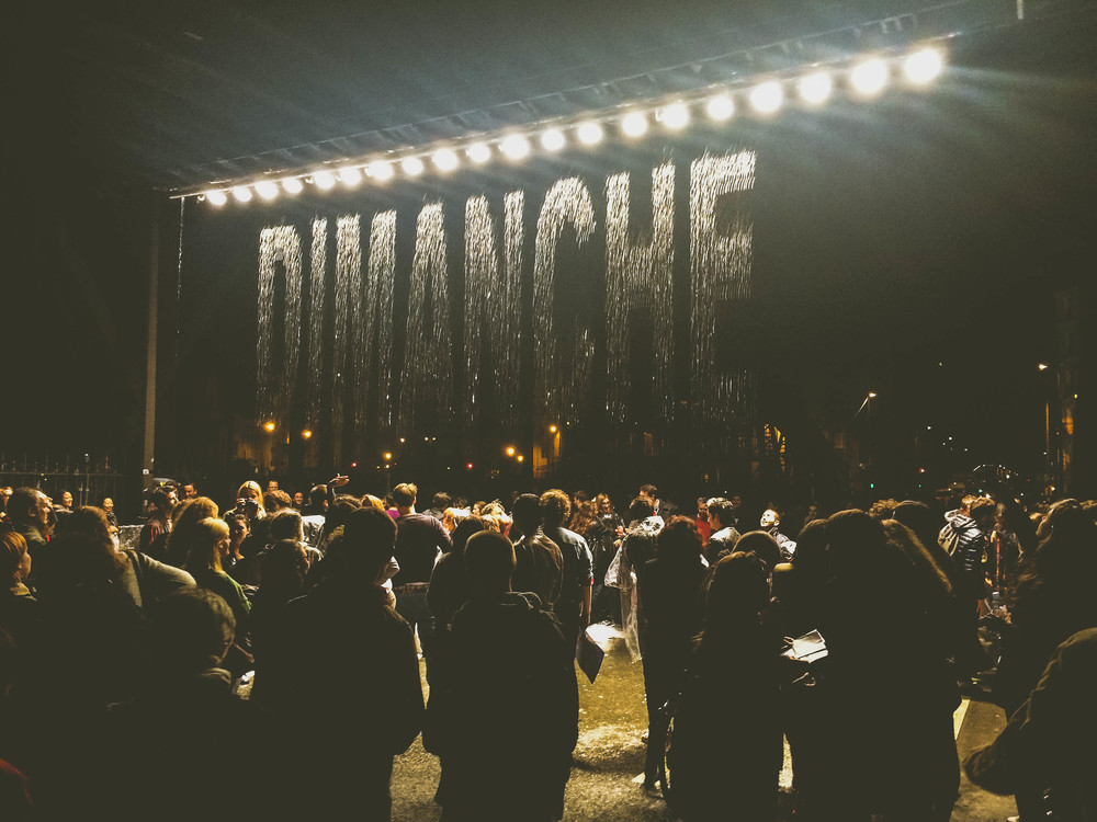 Nuit Blanche 2015: Installation where falling water formed different words in many languages.