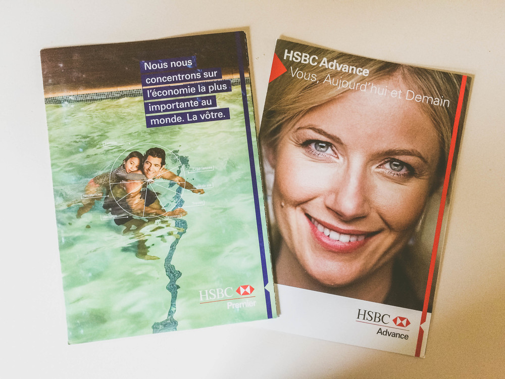 HSBC Premier & Advance brochures found at a branch in Paris.