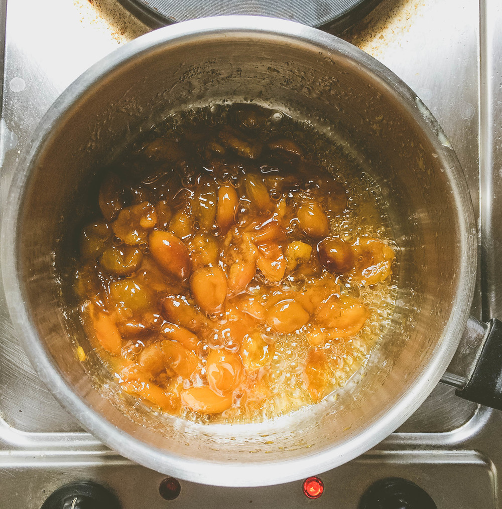 Making Mirabelle Jam: Mirabelles cooked down with sugar