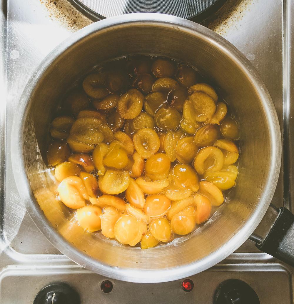 Making Mirabelle Jam: cooking Mirabelles