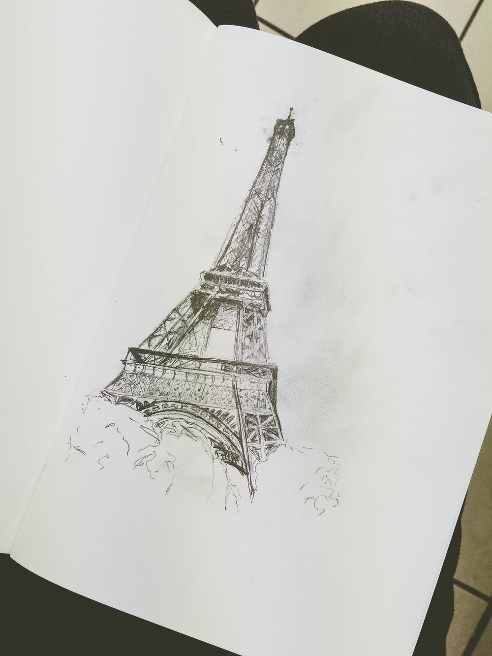 A sketch of the Eiffel Tower done while waiting at the laverie in Paris.