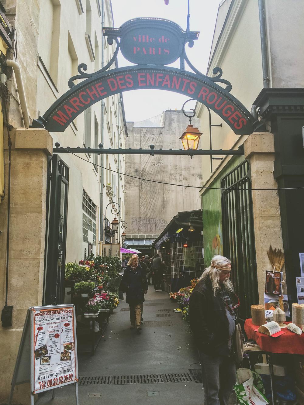 The entrance to Le Marché des Enfants Rouge