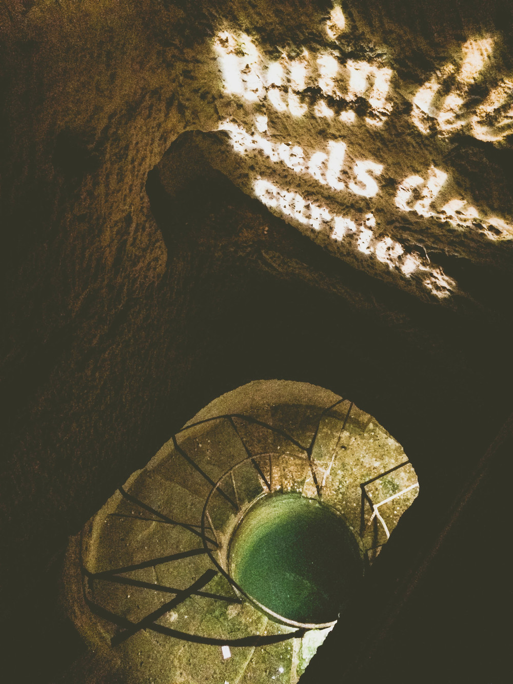 A look into a well inside the catacombs.