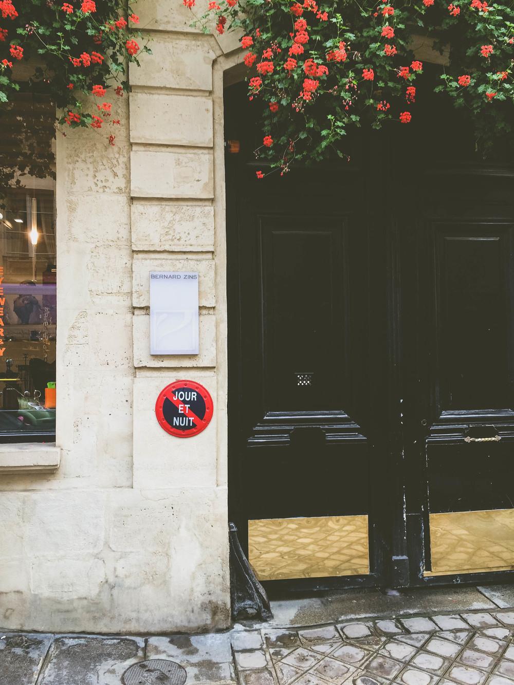 A door and flowers in Paris