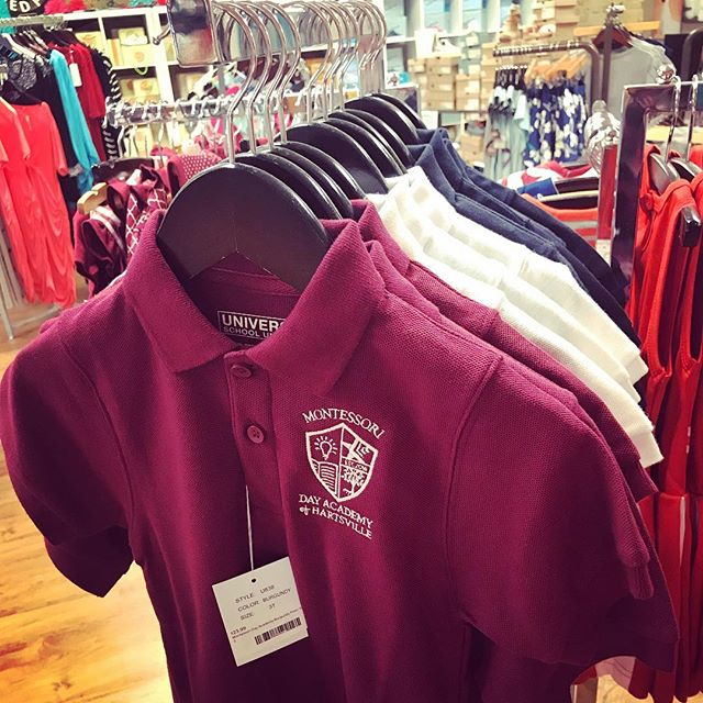 Visit @tommi_mack in Hartsville if you'd like to pick up a uniform shirt or 2. Sonya has several styles and colors available for our students! We love having this local option! #montessorischool #mdah #hartsvillesc #shopsmall #shoplocal #weloveourcity #montessorikids