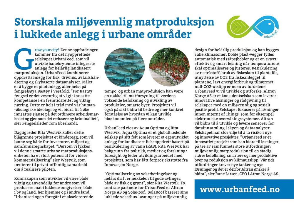 URBANFEED mediaplanet special editorial - Future of food production -   aftenposten 29.11.15 (no).jpg