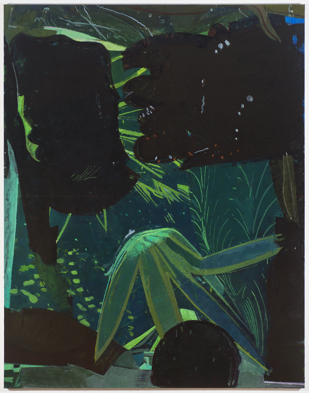 underwater electric greenhouse , 2014 oil on linen 84 x 66 in