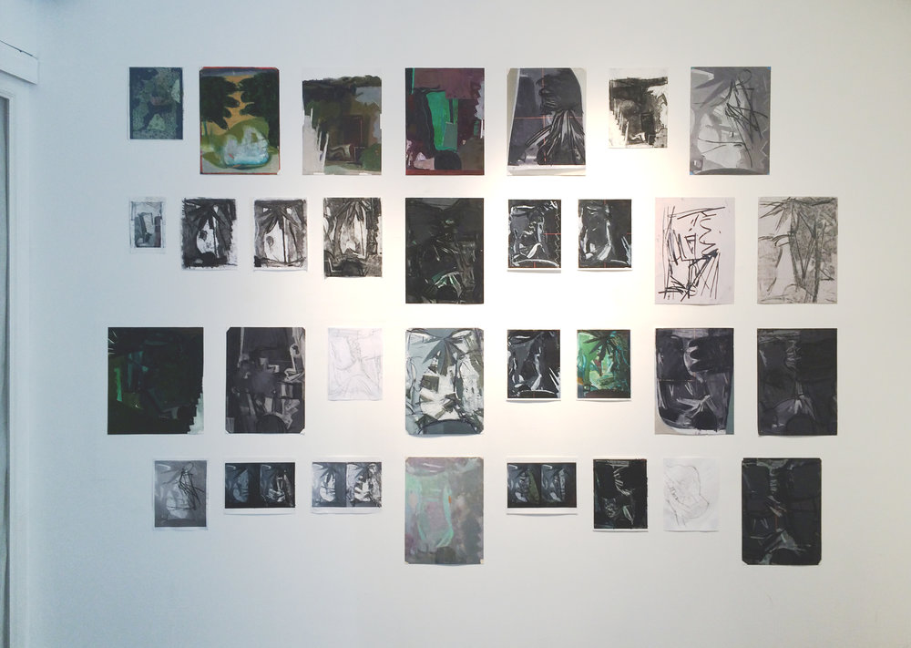 wall installation of works on paper (group exhibition)  leaves,  2014 Steven Harvey Fine Art Projects, NY, NY