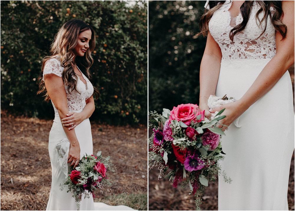 32 - wedding dress, bouquet - bride getting ready wedding seranbi farms atlanta .jpg