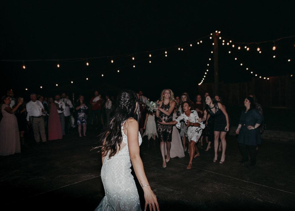 163 - Wedding reception dances : bouquet toss : Deep South Farm Wedding Venue : Atlanta Wedding Photographer .jpg