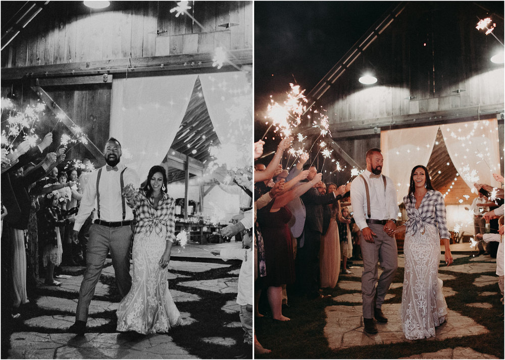 168 - Wedding sparklers exit : Deep South Farm Wedding Venue : Atlanta Wedding Photographer .jpg